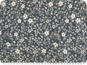 Cotton-polyester fabric, medium flowers, jeans blue, 140cm