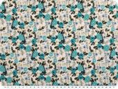 Cotton fabric, flowers, turquoise-multicolour, 140cm