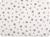 Viscose-voile, music notes, white and black, 138cm