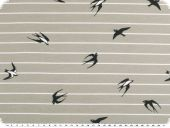 Cotton jersey, birds and stripes, light grey-white, 150cm