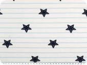 Cotton jersey with stripes,  starfishes, 150cm