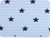 Cotton jersey with stripes,  starfishes, blue-white, 150cm