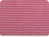 Cotton jersey, small stripes, grey-pink, 150cm