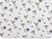 Cotton print, ships and anchors, white-green-navy, 150cm