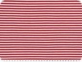 Cotton jersey, stripes, white-red, 150cm
