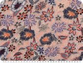 Viscose jersey,  flowers, ecru-blue-orange, 145cm