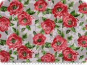 Cauterised fabric, roses, white-red-green, 145cm