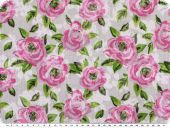 Cauterised fabric, roses, white-rose-green, 145cm