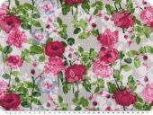 Cauterised fabric, flowers, raspberry-green-white, 145cm