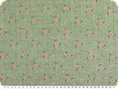 Pigment flower print, ajour-structure, green-pink, 145cm