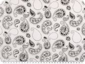 Cotton batiste, paisley, white-black, 140-145cm