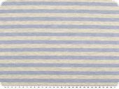 Striped cotton blend jersey, ecru-light blue, 150-155cm