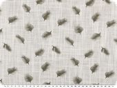 Cotton print, feathers, linen structure, white-brown, 145cm