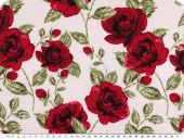 Cotton print, roses, ecru and red, 140cm