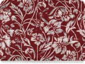 Cotton voile, print, flowers and leafs, burgundy, 142cm