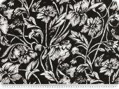 Cotton voile, print, flowers and leafs, black, 142cm