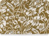 Cotton voile, print, flowers and leafs, middle brown