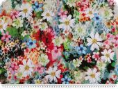 Viscose fabric, digital print, flower meadow, coloured, 150c