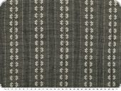 Cotton Jacquard, stripes and flowers, grey-white, 140cm