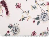 Viscose mousseline, big flowers,  ecru-red-blue, 140-145cm