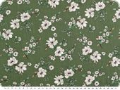 Viscose mousseline, flower print, green-white, 140-145cm