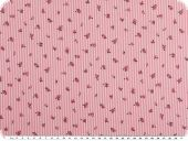Cotton poplin, stripes and roses, pink-white, 150cm