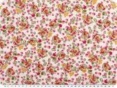 Flower print,  small flowers, white-pink, 145cm