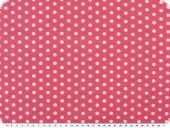Cotton jersey, dots pattern, white-pink, width 150cm
