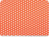Cotton jersey, dots pattern, white-orange salmon, width150cm