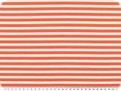 Cotton jersey, stripes, white-orange salmon, width 150cm