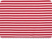 Cotton jersey, stripes pattern, white-red, width 150cm