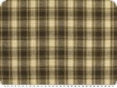 Checkered fabric, cotton blend, ecru-brown, red 145cm