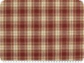 Checkered fabric, cotton blend, ecru-red,d 145cm