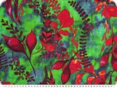 Fancy Cotton-viscose print, flowers, green-red, 142cm