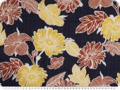 Cotton blend, flowers, navy-yellow, 142-145cm