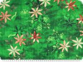 Cotton-viscose print, flowers, green, 142cm