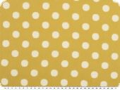 Cotton print, wrinkle structure, white dots, mustard