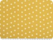 Cotton print, wrinkle structure, small flowers, mustard