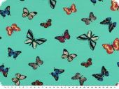 Cotton Jersey, butterflies, turquoise, 150-155cm