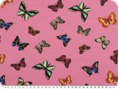Cotton Jersey, butterflies, rose pink, 150-155cm