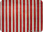 Polyester satin stripes, red-white, ca. 150cm
