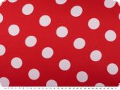Polyester satin dots, red with white dots, ca. 150cm