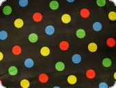 Polyester satin multicoloured dots, on black, 150cm