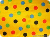 Polyester satin, multicoloured dots, on yellow, ca.150cm