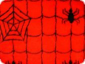 Teddybear fabric, spider net, black-red, ca. 150cm