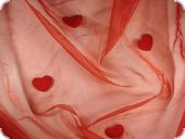Organza nylon with hearts, red, ca. 145cm