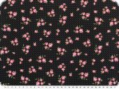Nice cotton print, flowers, black,140cm