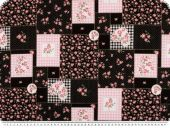 Nice cotton print, patch, flowers-hearts, black, 140cm