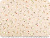 Nice cotton print, small flowers, pastelbrown, 142-145cm