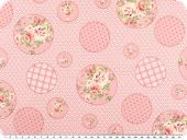Nice cotton print, flowers and dots, pink, 142-145cm